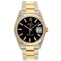 Rolex Stainless Steel Black Dial Date Automatic Wristwatch Ref 15203