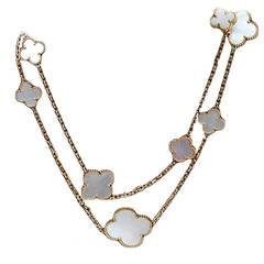 Van Cleef & Arpels Magic Alhambra Mother-of-Pearl Gold Long 16 Motif Necklace