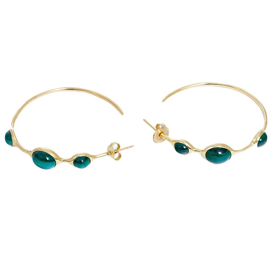 Ippolita Malachite Gold Hoop Earrings