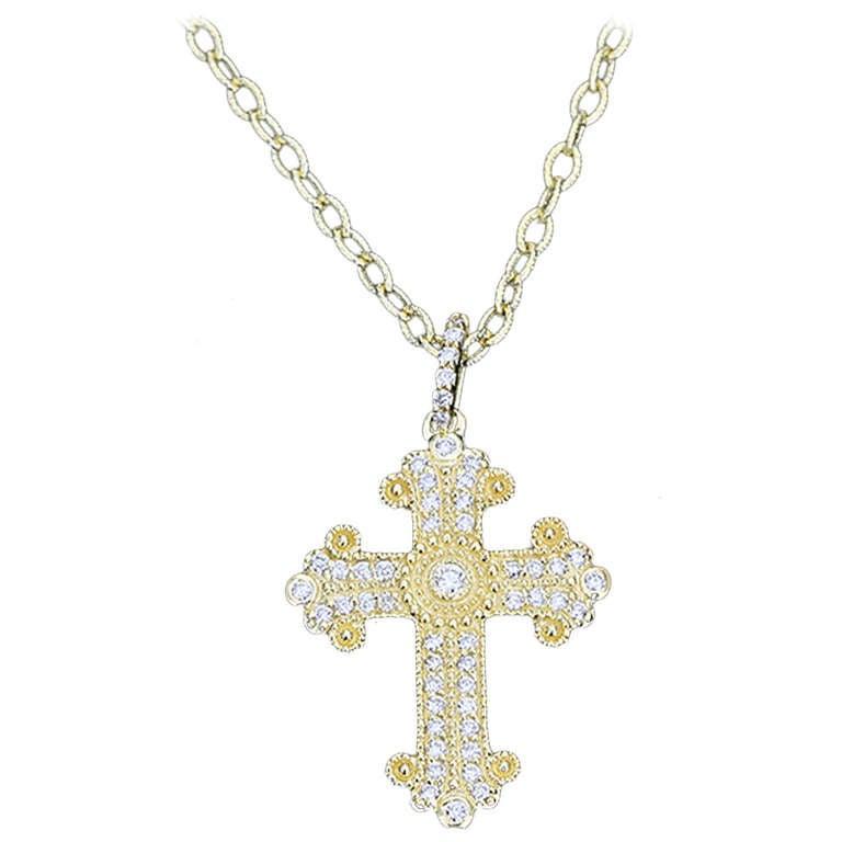 Byzantine inspired yellow gold diamond cross pendant necklace and byzantine inspired yellow gold diamond cross pendant necklace chain 1 mozeypictures Choice Image