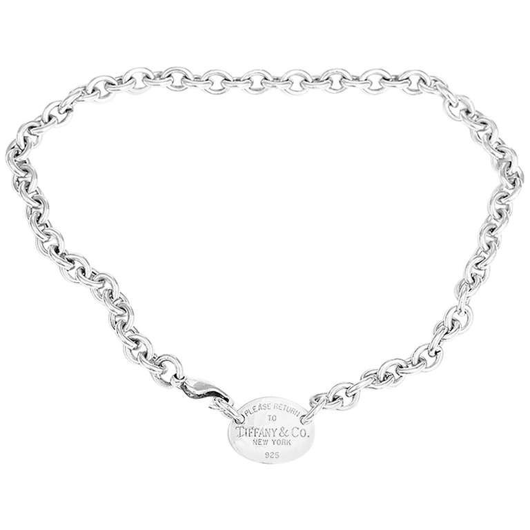 ac923f697 Return to Tiffany Sterling Silver Oval Tag Necklace at 1stdibs