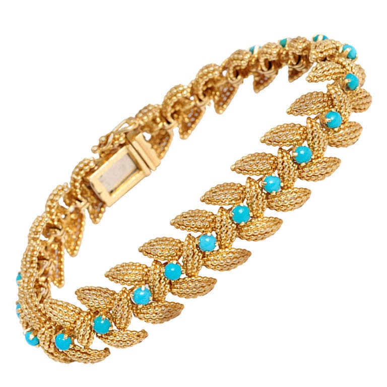Gold Turquoise Bracelet For