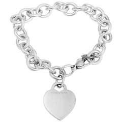 Tiffany & Co. Sterling Silver Heart Charm Chain Bracelet 7.5-in.