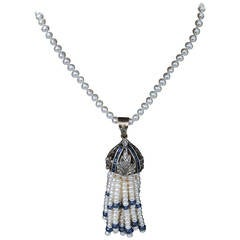Beautiful Pearl Sapphire Diamond Tassel Necklace