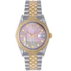 Rolex Yellow Gold Stainless Steel Date Mother-of-Pearl Dial Wristwatch Ref 15223