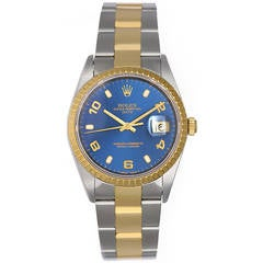 Rolex Yellow Gold Stainless Steel Blue Dial Date Automatic Wristwatch Ref 15223