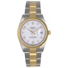 Rolex Yellow Gold Stainless Steel Date Automatic Wristwatch Ref 15223