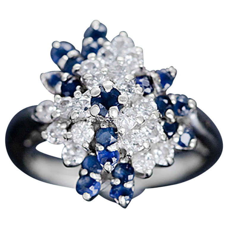 Diamond and blue sapphire waterfall ring white gold at 1stdibs for Waterfall design ring