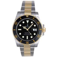 Rolex Yellow Gold Stainless Steel Submariner Black Dial Wristwatch Ref 116613