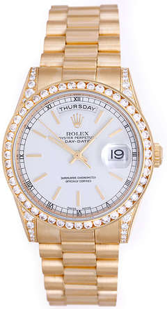 Rolex President Day-Date Men's Gold Watch with Diamonds 118338