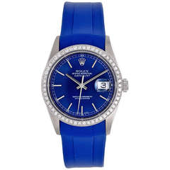 Rolex Datejust Men's Stainless Steel Diamond Watch on Blue Strap Band 16220