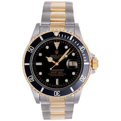 Rolex  Stainless Steel and Yellow Gold Submariner Wristwatch Ref 16613