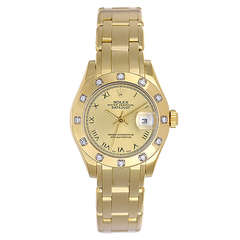 Rolex Lady's Yellow Gold and Diamond Datejust Pearlmaster Wristwatch Ref 80318