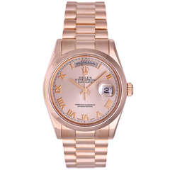 Rolex Rose Gold Day-Date President Wristwatch Ref 118205