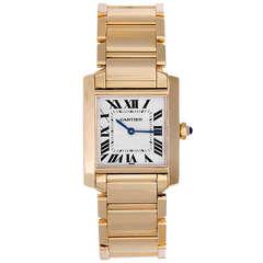 Cartier Yellow Gold Midsize Tank Francaise Wristwatch