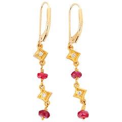 Ruby Diamond Gold Dangle Earrings
