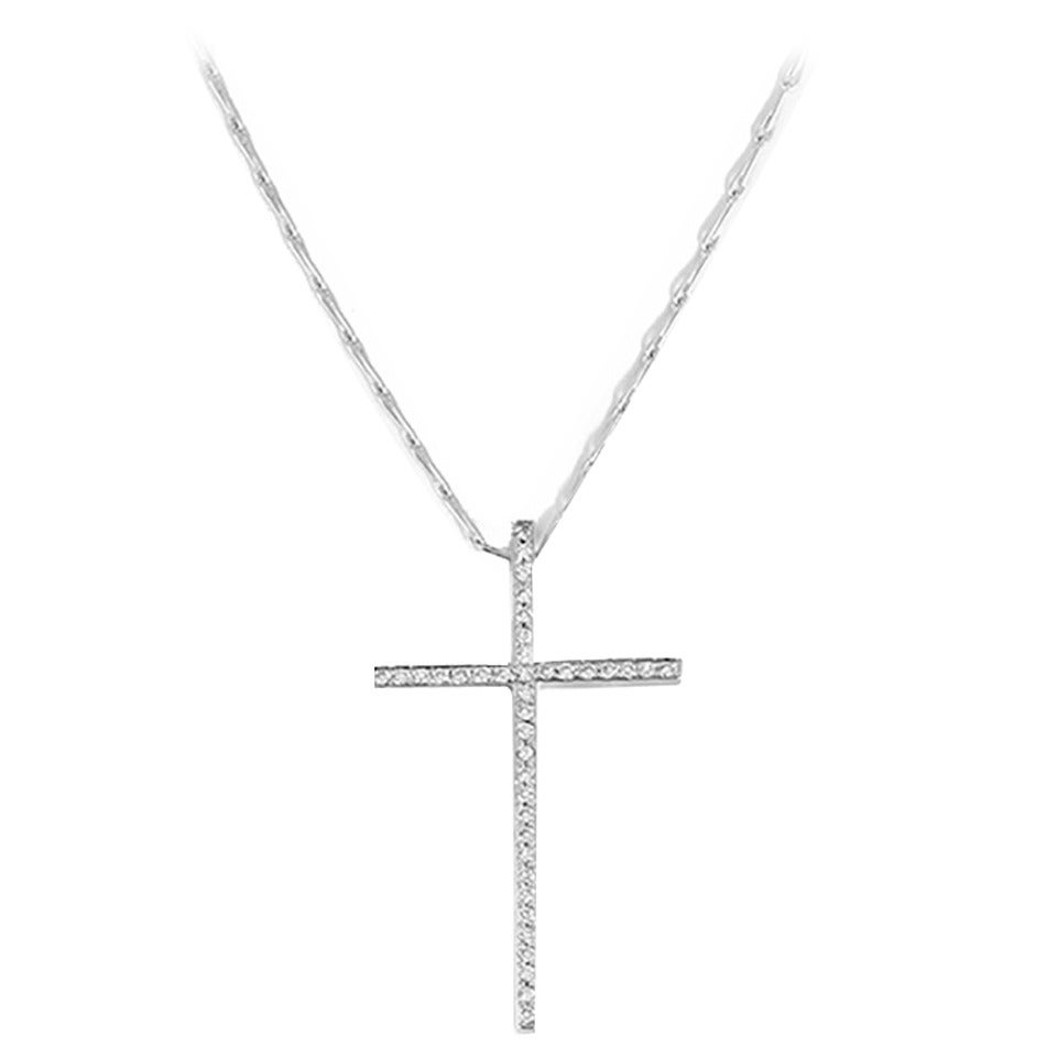 Mizuki Diamond Gold Cross Necklace For Sale
