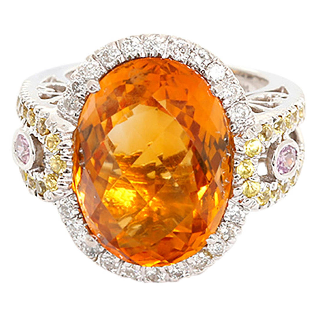 Amazing Citrine Pink and Yellow Sapphire Diamond Gold ...