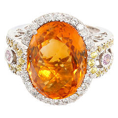 Amazing Citrine Pink and Yellow Sapphire Diamond Gold Cocktail Ring