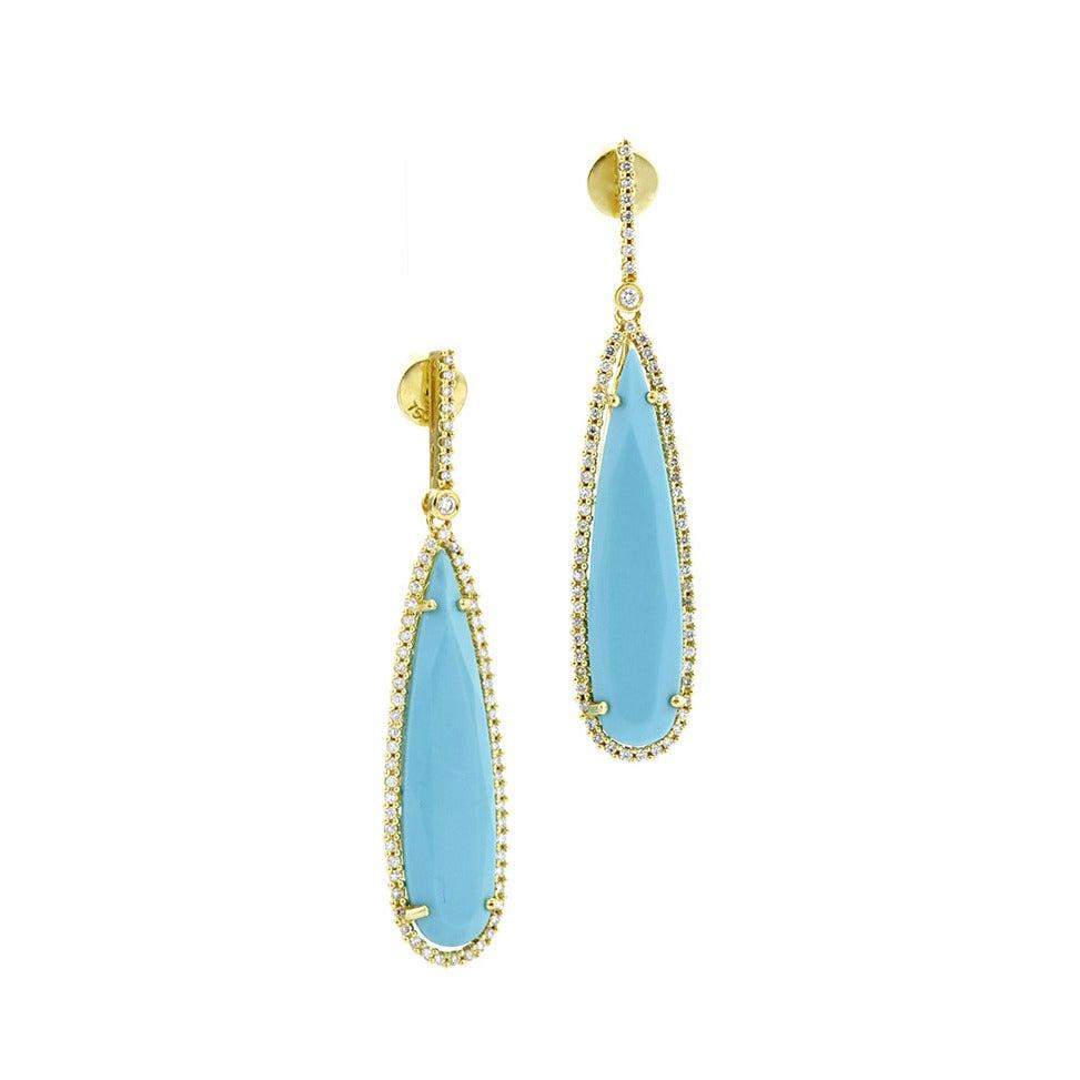 Amazing Persian Turquoise Diamond Gold Drop Earrings 1