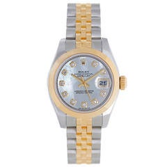 Rolex Lady's Yellow Gold Stainless Steel Datejust Automatic Wristwatch