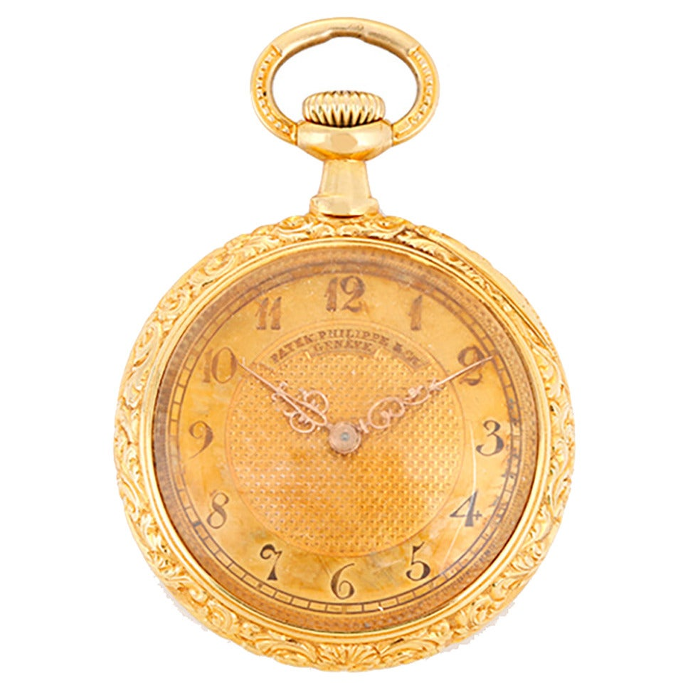 49ab2d1b5 Vintage Patek Philippe Ladies Ornately Engraved Open Face Pendant/Pocket  Watch For Sale