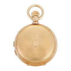 LeCoultre Yellow Gold Heavy Engine Turned Hunting Case Pocket Watch