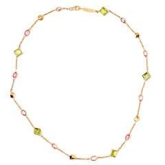 Paolo Costagli Peridot Pink Sapphire Gold Florentine Necklace
