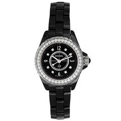 Chanel Black Ceramic and Diamond J12 Wristwatch