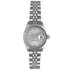 Rolex Lady's Stainless Steel Datejust Wristwatch with Diamond-Set Dial Ref 79174