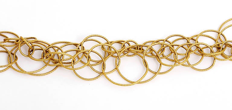 Beautiful Yellow Gold Double Circle Chain Link Necklace At