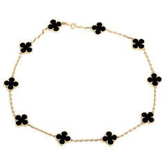 Van Cleef & Arpels Alhambra Ten Motif Onyx and Yellow Gold Necklace