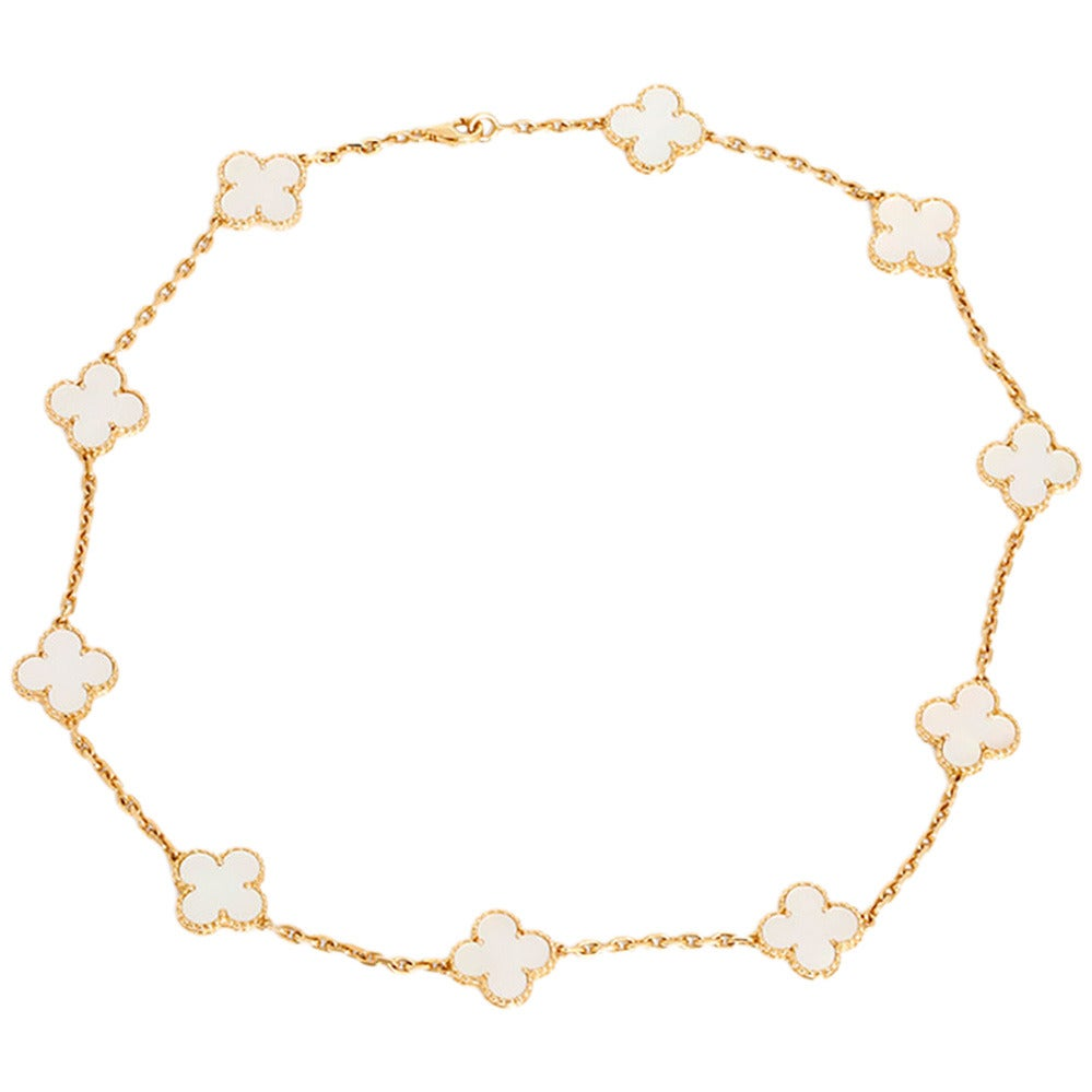 Van Cleef And Arpels Mother Of Pearl Necklace: Van Cleef And Arpels Alhambra, 10 Motifs Yellow Gold And