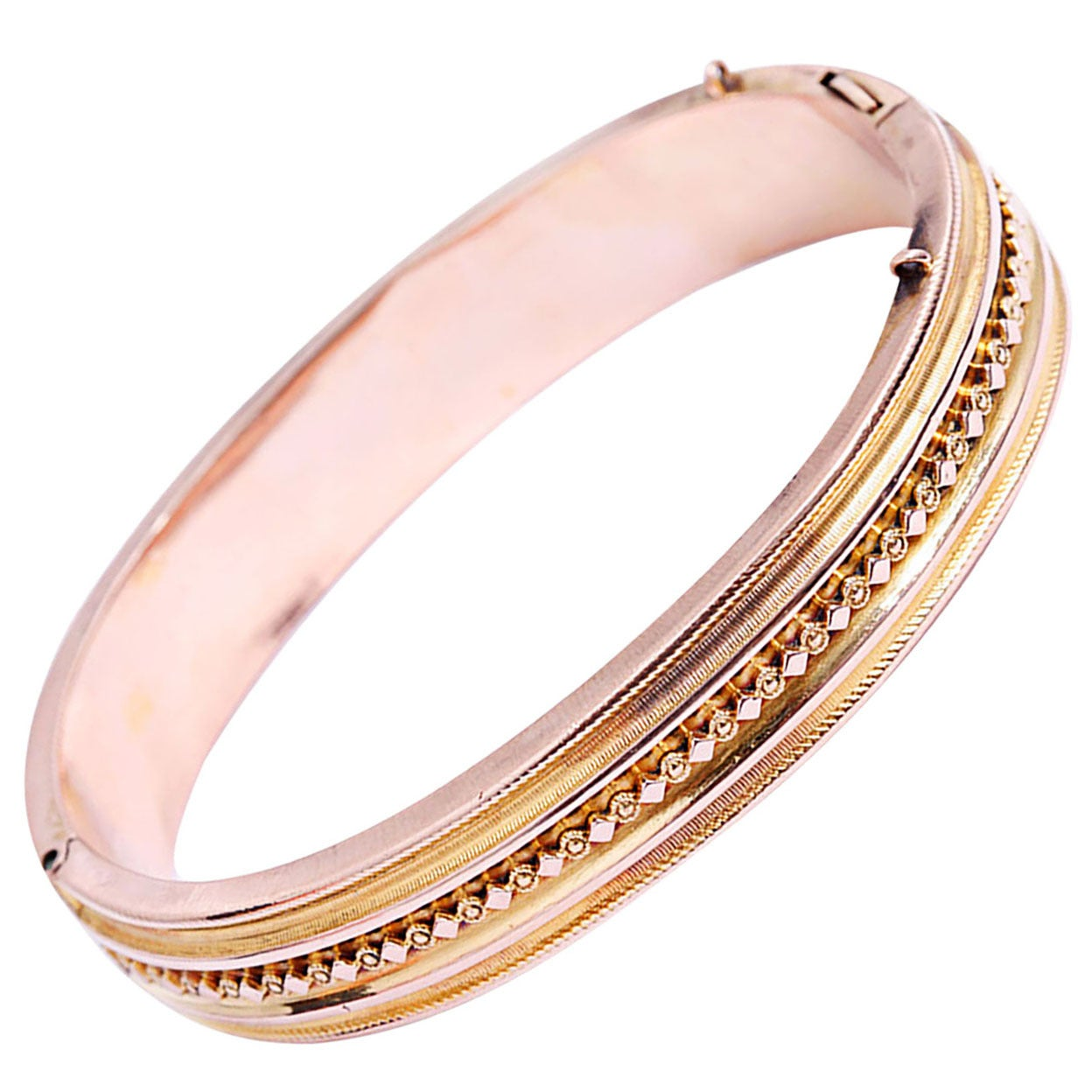 Beautiful Antique Rose Gold Bangle Bracelet For Sale At
