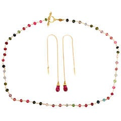 Cynthia Bach Tourmaline Necklace and Earpendant Set in Yellow Gold