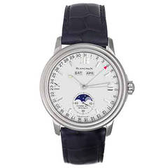 Blancpain Stainless Steel Leman Day Date Month Moonphase Wristwatch