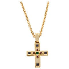 Cartier Byzantine Multicolor Gemstone Yellow Gold Cross and Chain Necklace