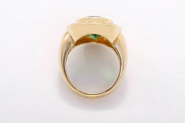 Stunning Green Tourmaline Diamond Gold Ring In Excellent Condition For Sale In Dallas, TX