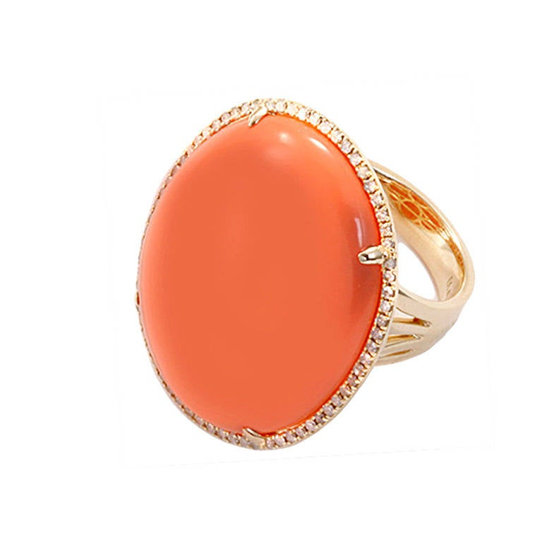Beautiful Yellow Gold, Orange Agate, & Diamond Ring Sz.7 For Sale