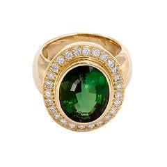 Stunning Green Tourmaline Diamond Gold Ring