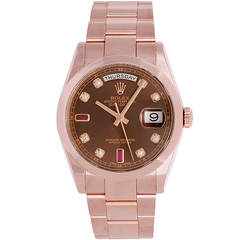Rolex Rose Gold Day-Date President Wristwatch with Unusual Dial Ref 118205
