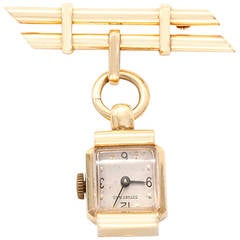Tiffany & Co. Lady's Yellow Gold Brooch Watch circa 1950s