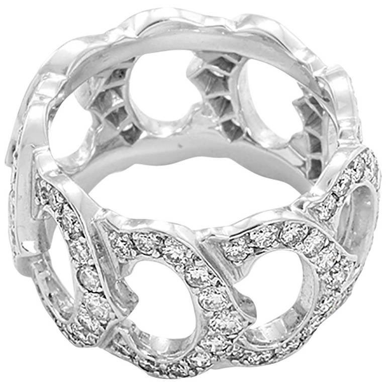 Cartier Double C De Diamond White Gold Ring For