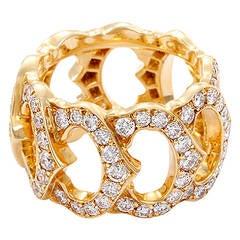 Cartier Double C de Cartier Diamond Yellow Gold Ring