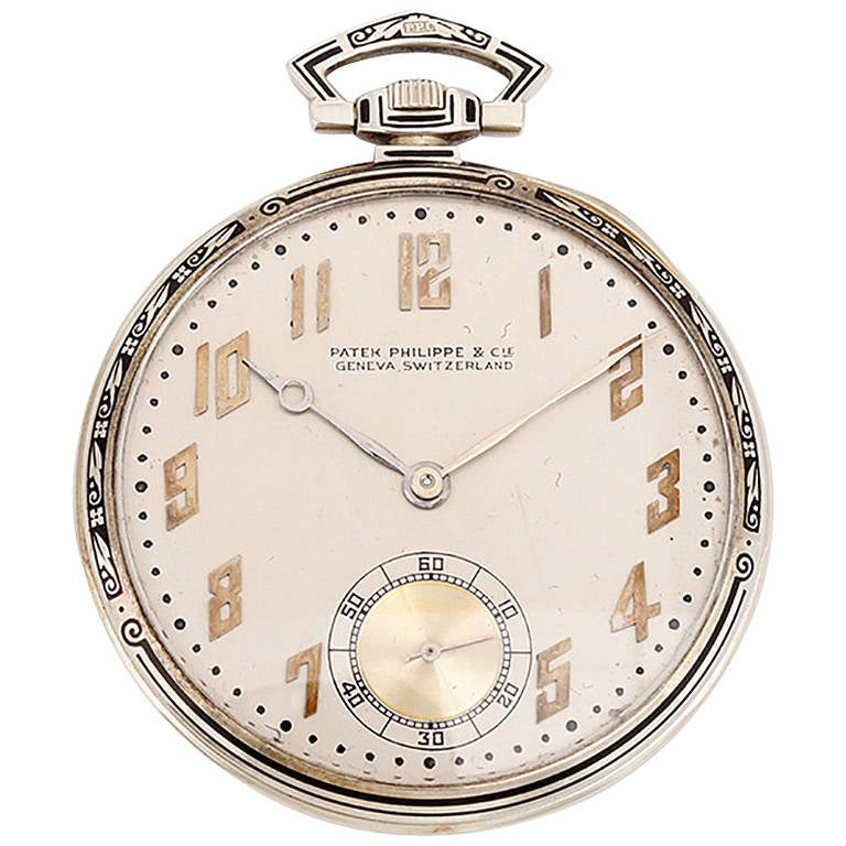 c038b4bdb6a Patek Philippe White Gold Art Deco Pocket Watch with Enamel Pattern Bezel  For Sale