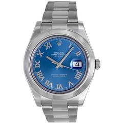 Rolex Stainless Steel Datejust II Wristwatch with Blue Dial Ref 116300
