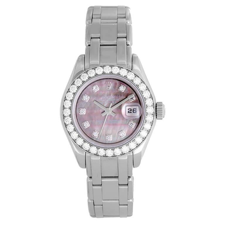 Rolex Lady's White Gold and Diamond Masterpiece Wristwatch Model 80299