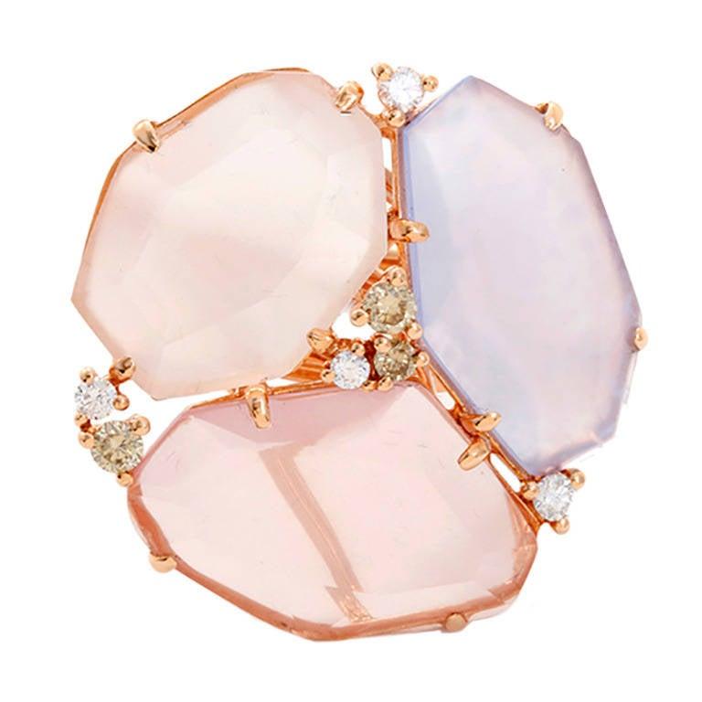 Beautiful Rose Multicolor Sliced Sapphire Diamond Gold Ring