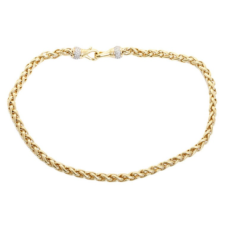 David Yurman Diamond Yellow Gold Wheat Link Necklace At