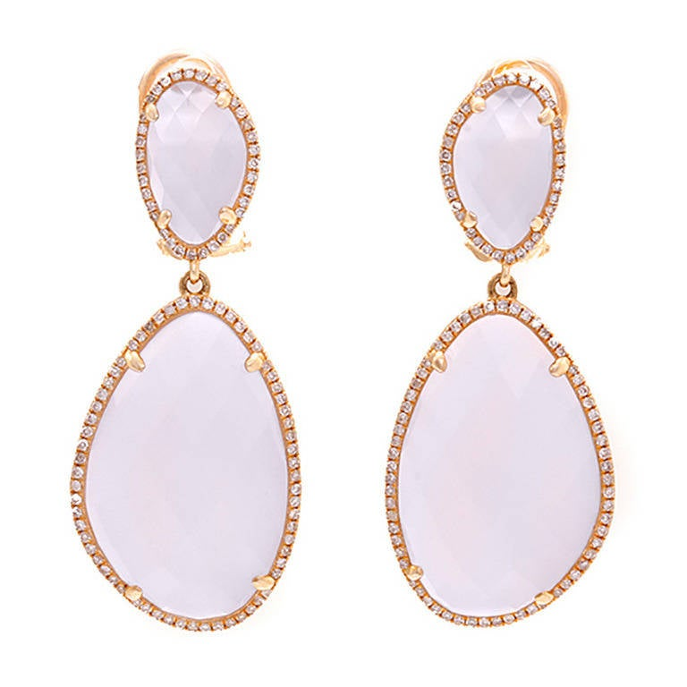 Amazing Lavender Chalcedony Diamond Rose Gold Dangle Earrings 1
